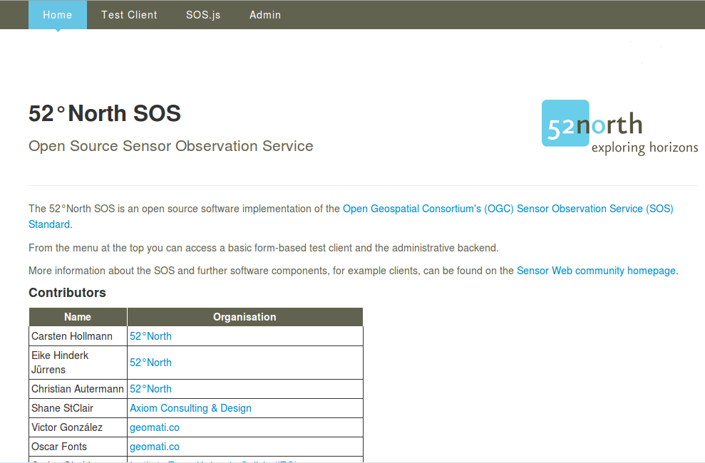screenshot of 52°North SOS client welcome page