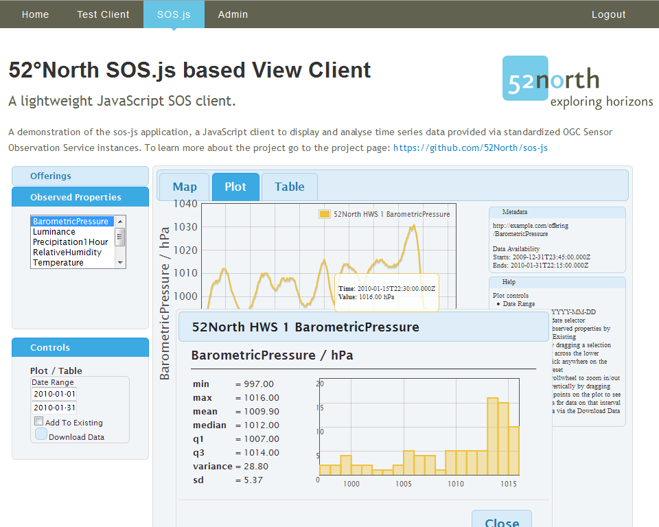 screenshot of 52°North SOS client - view client with time series data